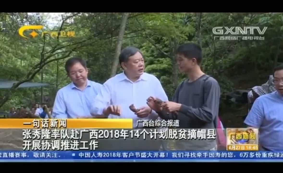张秀隆率队赴广西2018年14个计划脱贫摘帽县开展协调推进工作