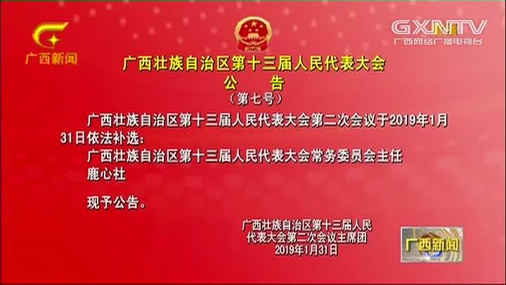 【视频】广西壮族自治区第十三届人民代表大会公告(第七号)